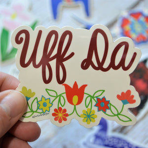 "NEW! Ready to ship - 'Uff Da' Vinyl Sticker - 2.5"" x 3"""