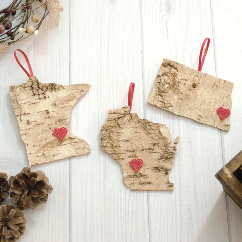 Birch Bark State Ornament- Embroidered Heart