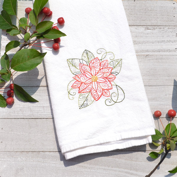 Lace Poinsettia Tea Towel - Christmas