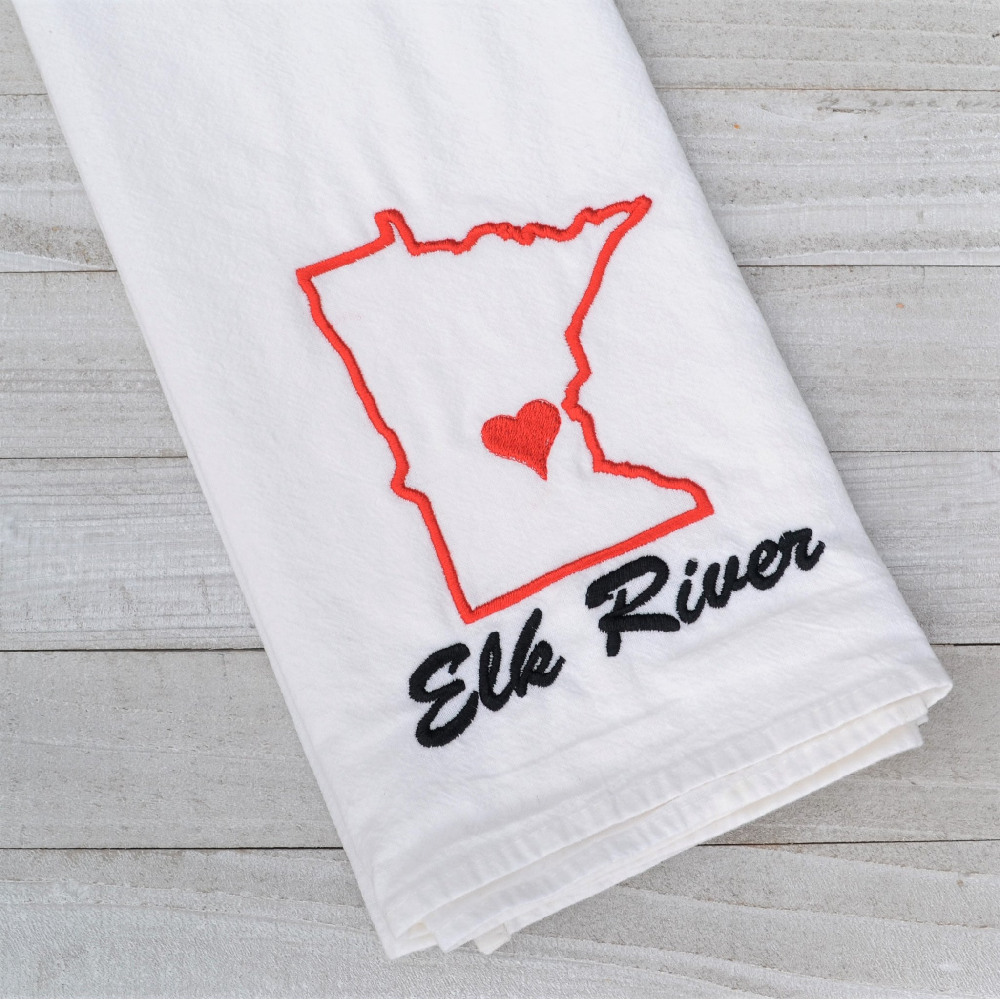 Elk River Tea Towel - Black and Red