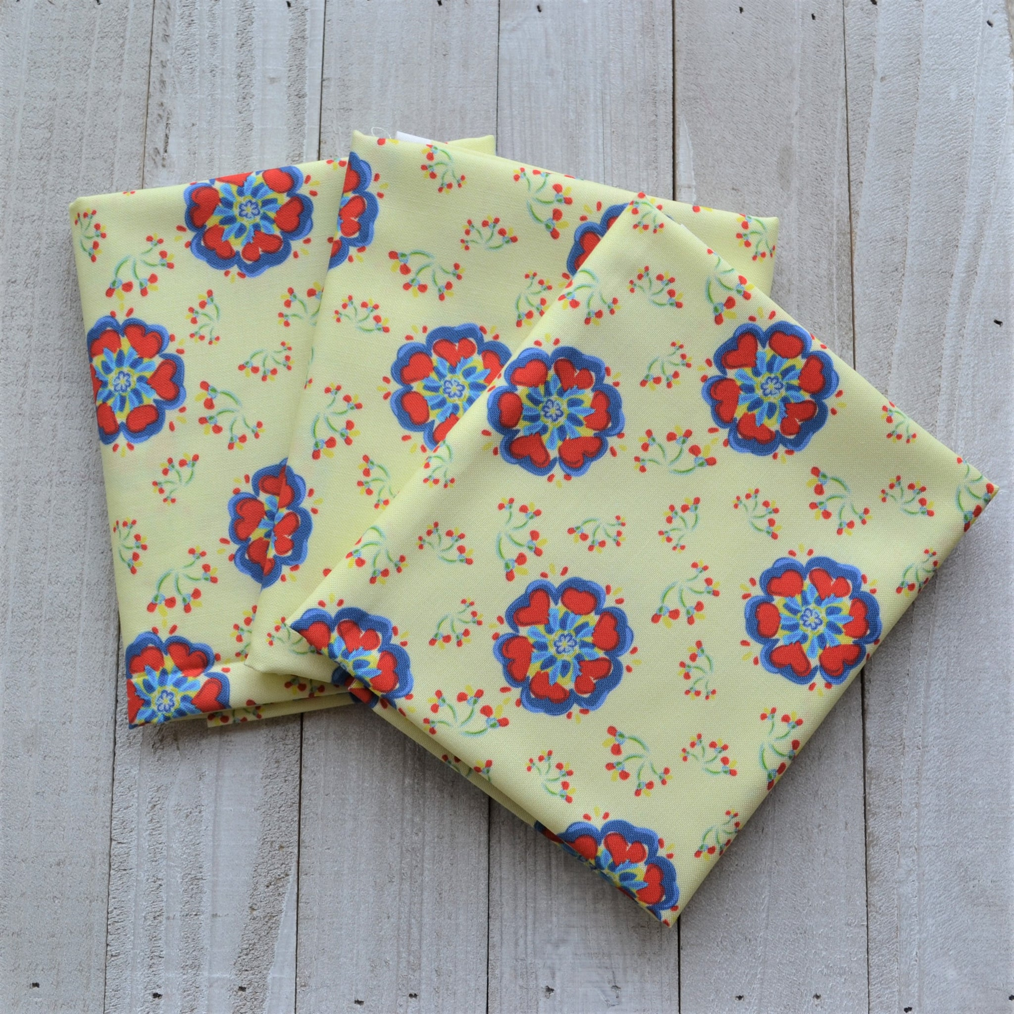 Swedish Flowers - Yellow - Fabric by the Fat Quarter, 1/2 Yard or Yard - Kona Cotton Ultra Quilting Fabric