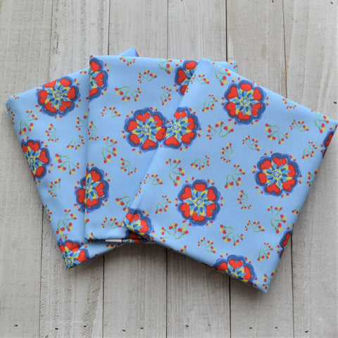 Swedish Flowers - Blue - Fabric by the Fat Quarter, 1/2 Yard or Yard - Kona Cotton Ultra Quilting Fabric