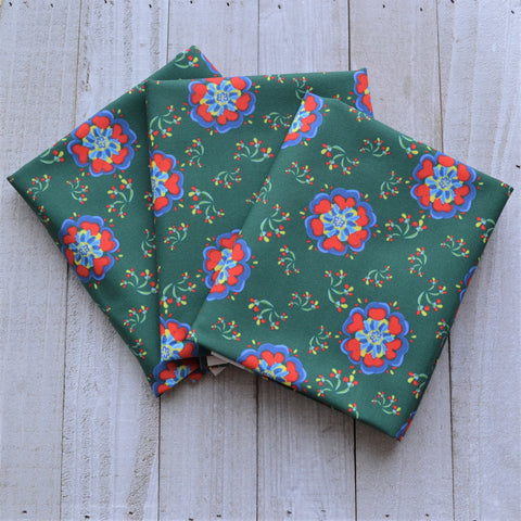 Swedish Flowers - Dark Teal - Fabric by the Fat Quarter, 1/2 Yard or Yard - Kona Cotton Ultra Quilting Fabric