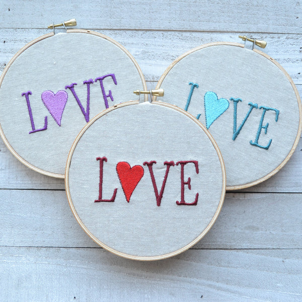 LOVE 'heart' -  Hoop Art