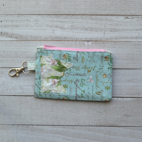 READY TO SHIP Minnesota Coin Purse - Blue with Lady Slippers MN (Pink Zipper)