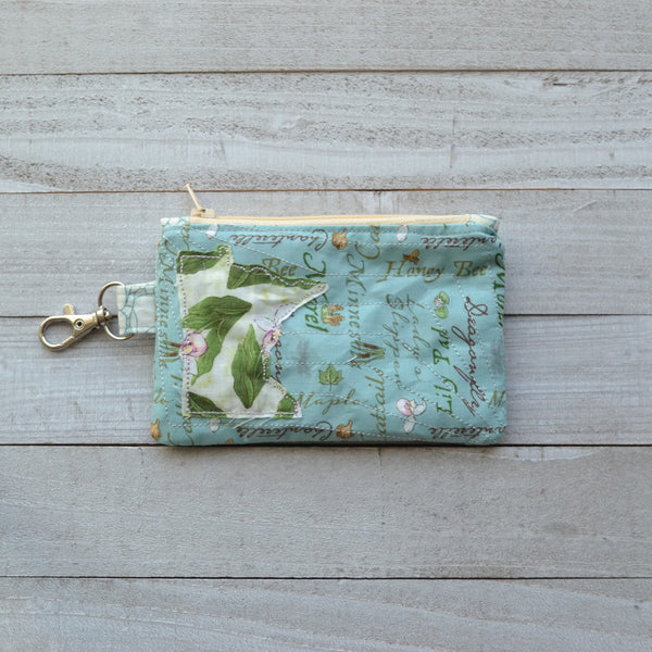 Minnesota Coin Purse - Blue with Lady Slippers MN (Cream Zipper)
