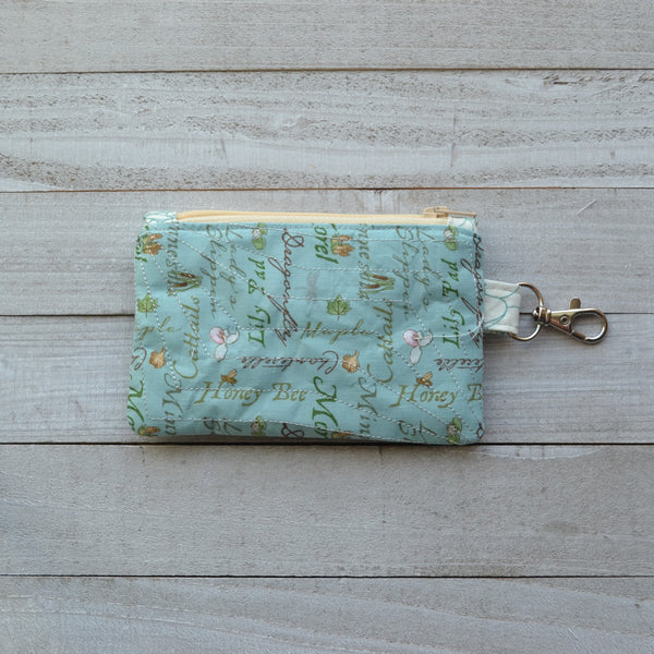 READY TO SHIP Minnesota Coin Purse - Blue with Lady Slippers MN (Cream Zipper)
