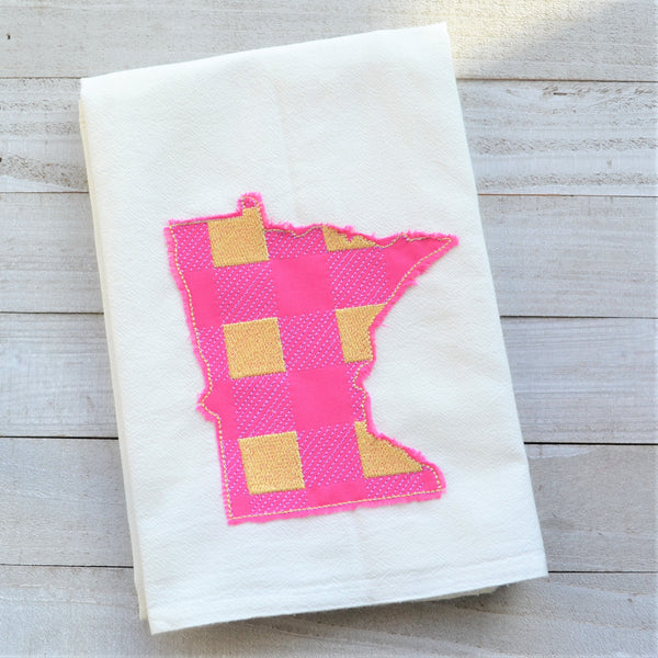 State Plaid Tea Towel - Embroidered Plaid - SUMMER (PURPLE & YELLOW ON PINK)