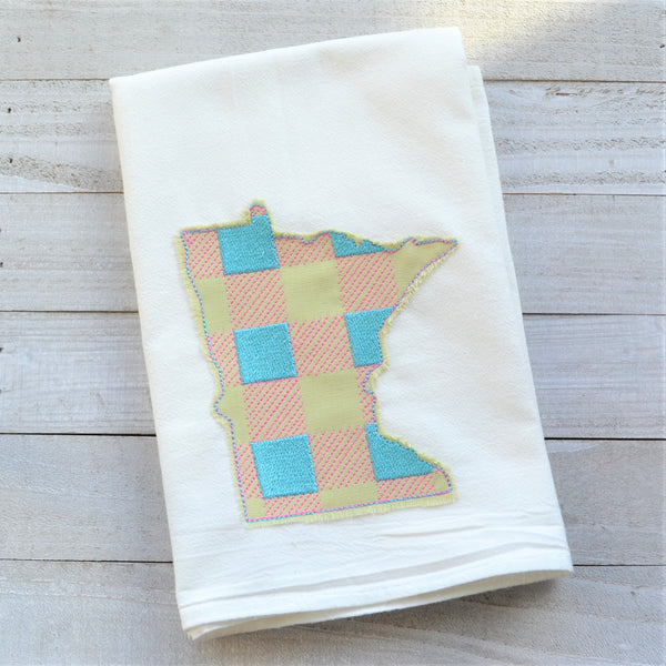 State Plaid Tea Towel - Embroidered Plaid - SPRING (PINK & BLUE ON GREEN)