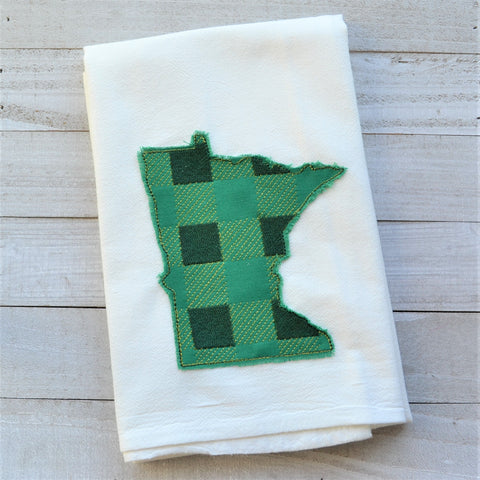 State Plaid Tea Towel - Embroidered Plaid - GREEN