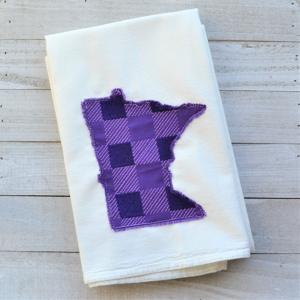 State Plaid Tea Towel - Embroidered Plaid - PURPLE