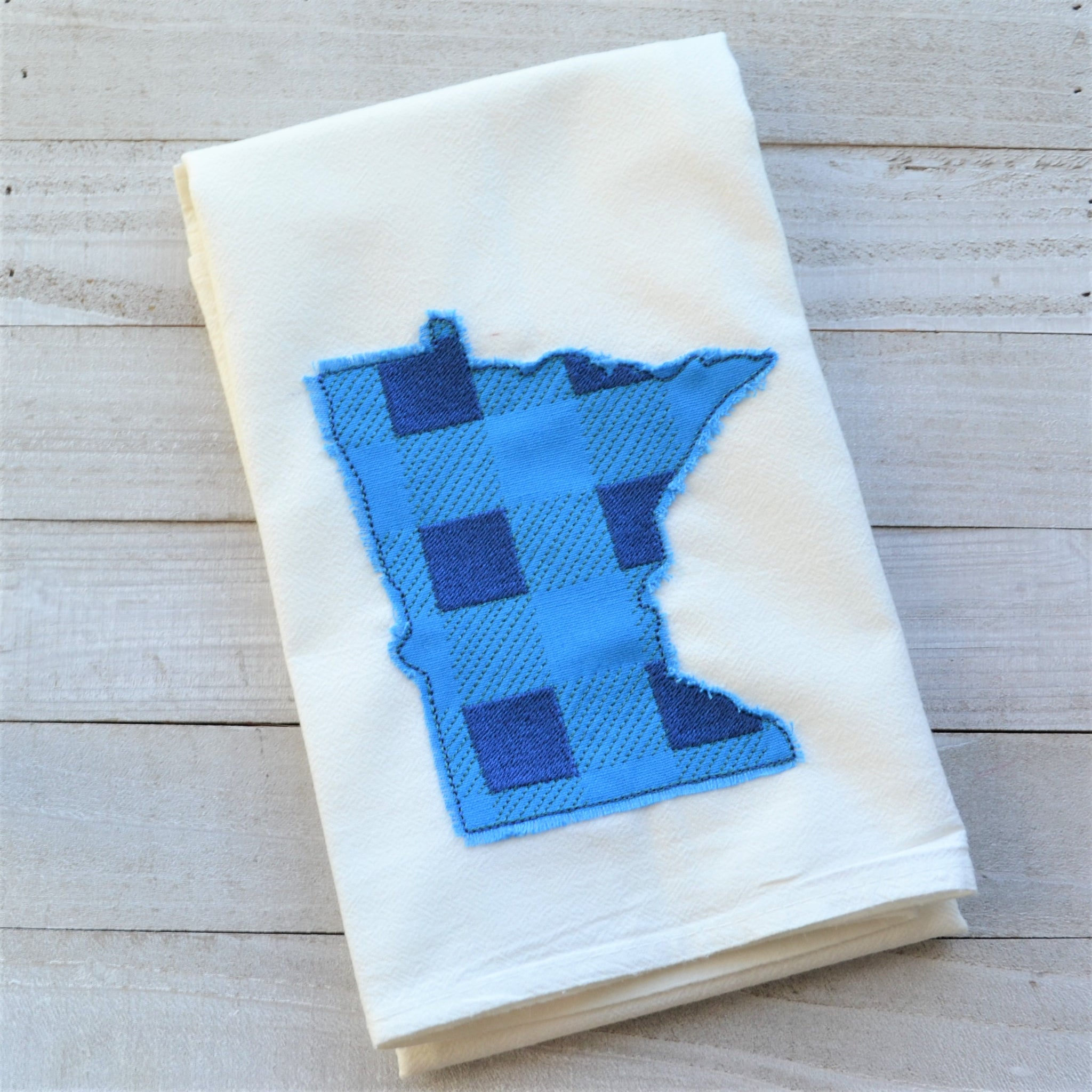 State Plaid Tea Towel - Embroidered Plaid - BLUE