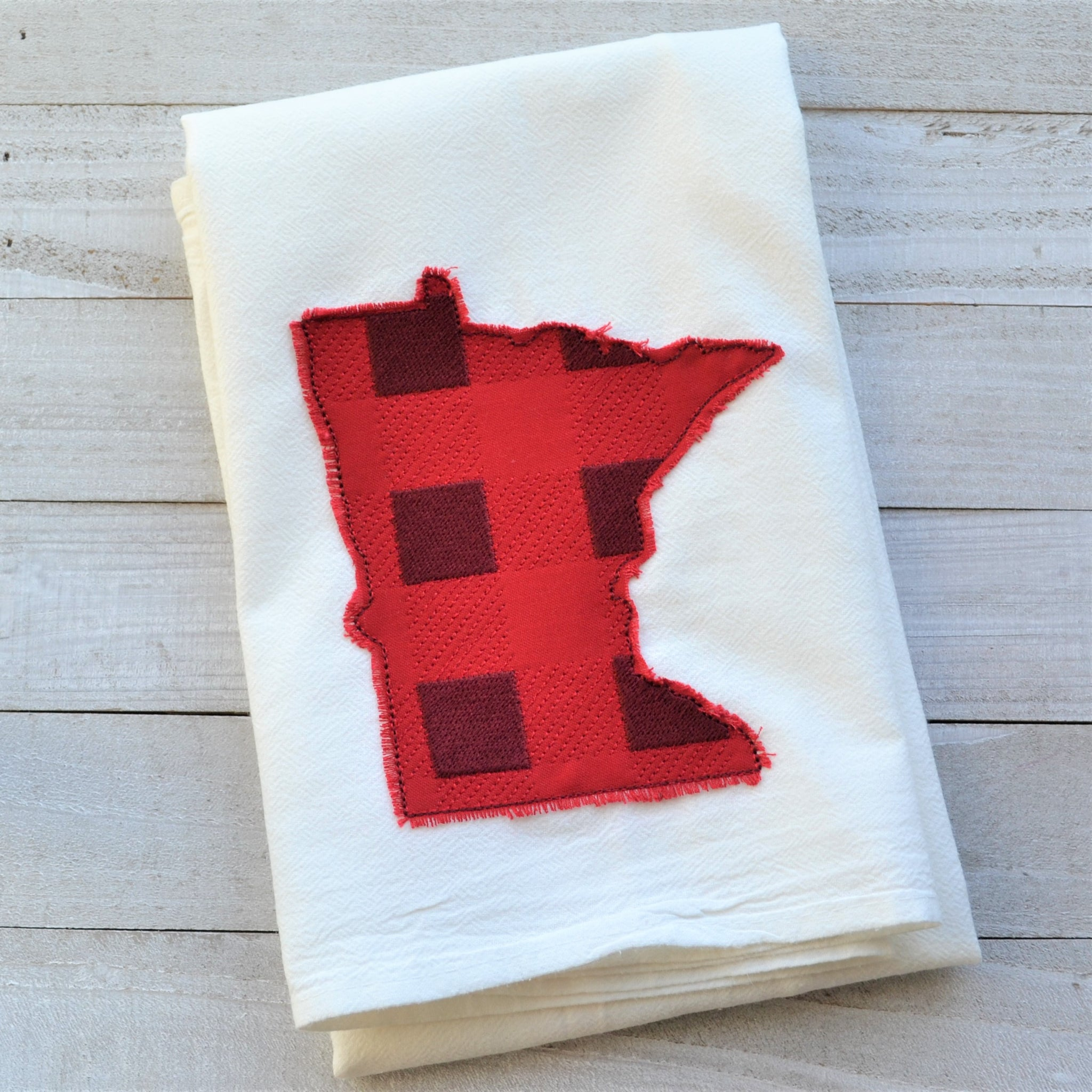 State Plaid Tea Towel - Embroidered Plaid - RED