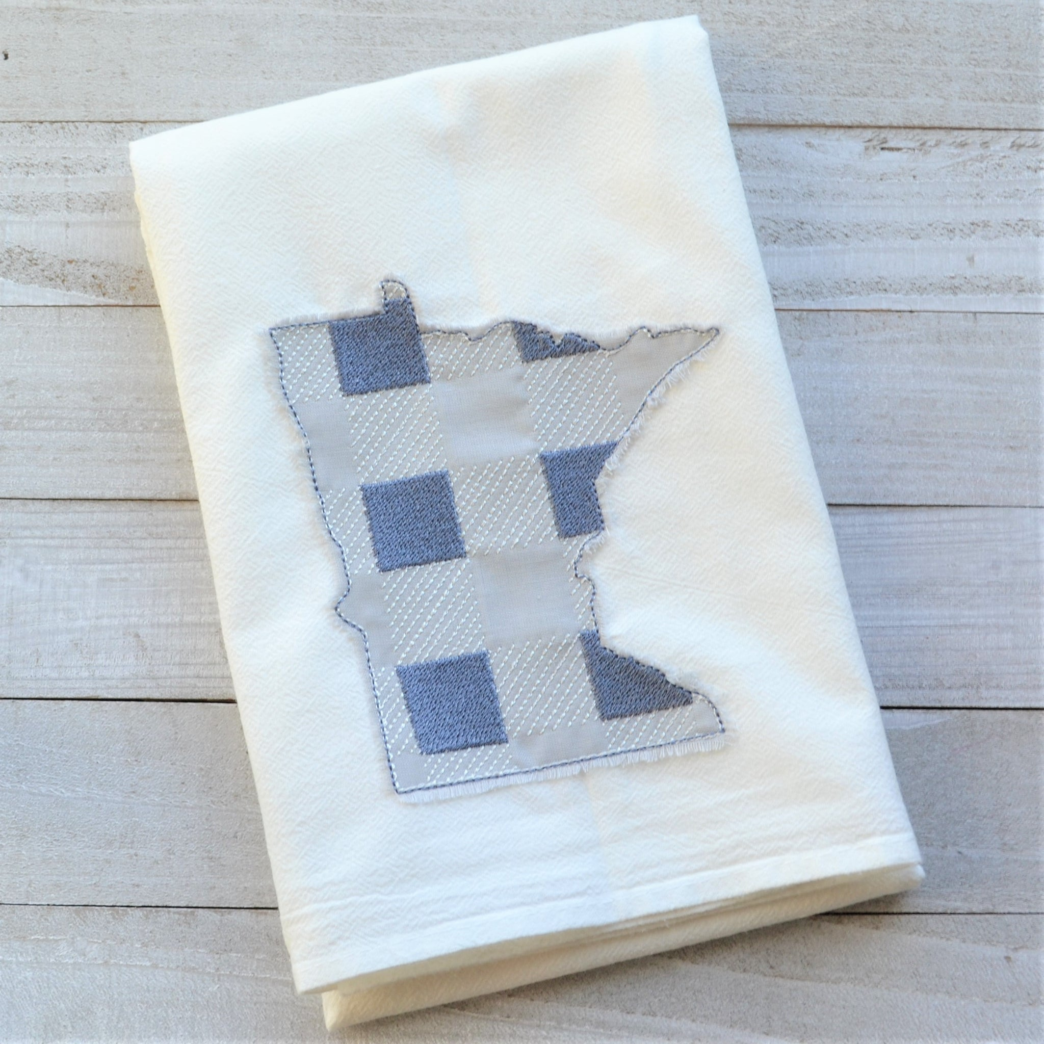 State Plaid Tea Towel - Embroidered Plaid - GRAY