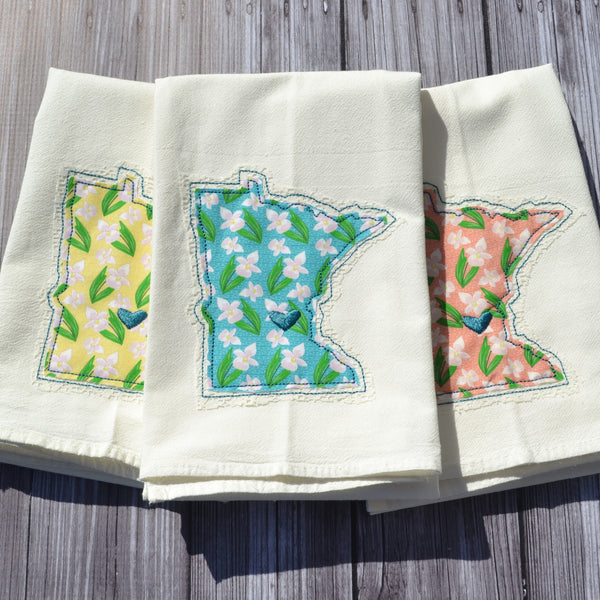 I Love Minnesota Tea Towel - Lady Slipper - Teal, Pink or Yellow with Lace Applique