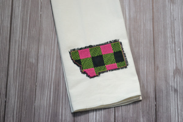 State Plaid Tea Towel - Embroidered Plaid - NEON (PINK & GREEN ON BLACK)