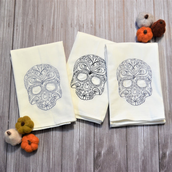 Lace Skulls Tea Towel