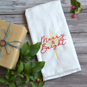 Merry & Bright Terry Velour Hand Towel - Christmas