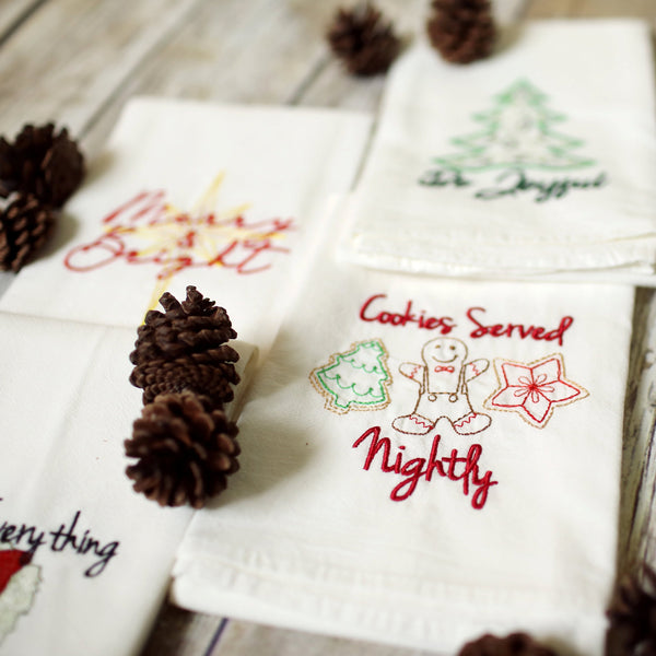 Cookies Served Nightly Tea Towel - Christmas