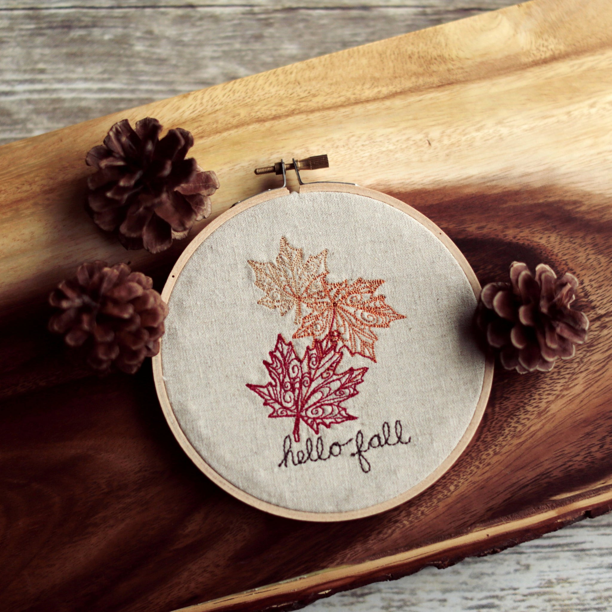 Hello Fall Hoop Art
