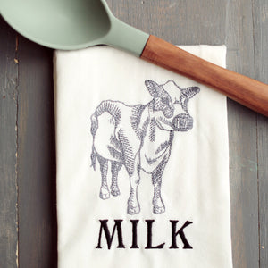 Farmhouse MILK Floursack Towel - Cow