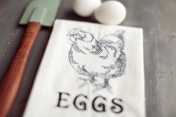 Farmhouse EGGS Floursack Towel - Chicken