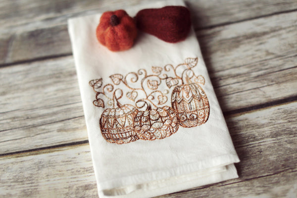 Lace Pumpkins Tea Towel