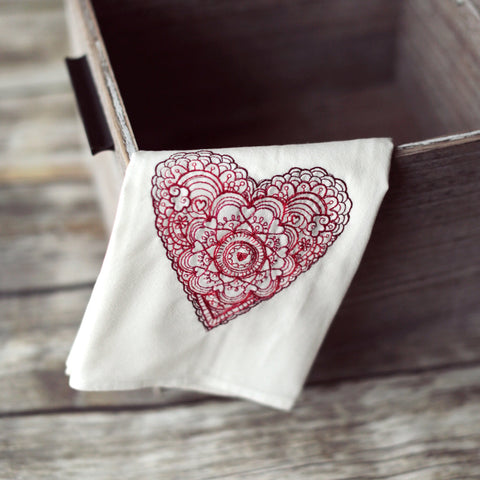 Lace Heart Tea Towel - Valentine's Day