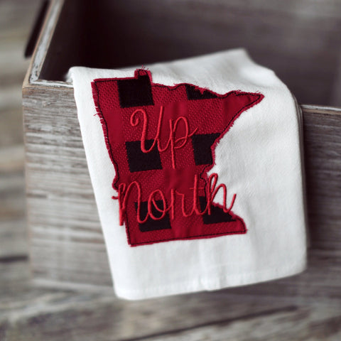 Minnesota Plaid 'Up North' Tea Towel - Embroidered plaid