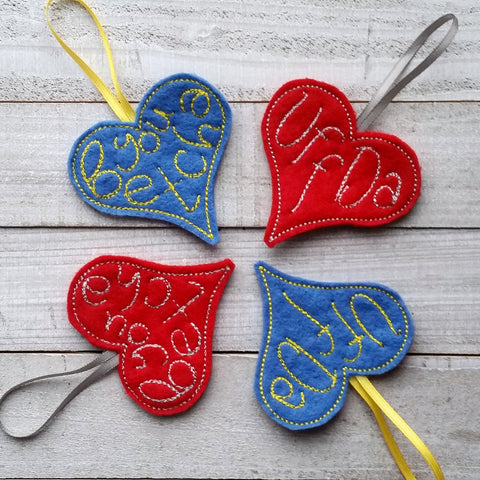 READY TO SHIP - Uff Da or You Betcha Heart Felt Ornament