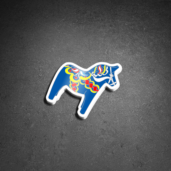 "NEW! Ready to ship - 'Dala Horse' Vinyl Sticker - 2.9"" x 3"""