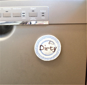 READY TO SHIP - Reversable Clean/Dirty Plate Dishwasher Magnet