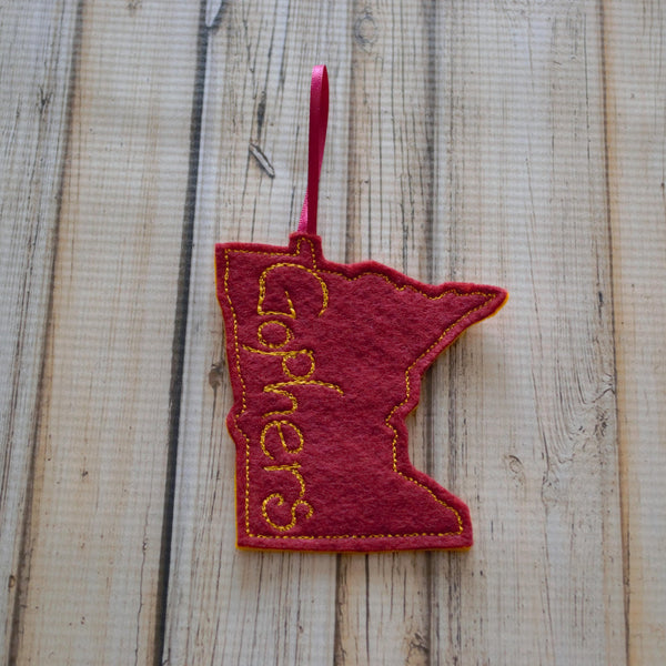 Minnesota College Sports Themed Felt Ornament