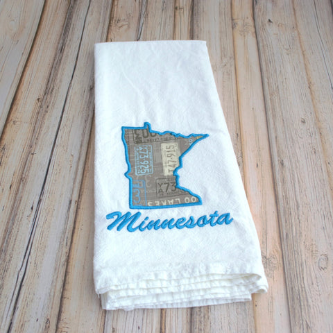 I Love Minnesota Tea Towel - License Plates Minnesota