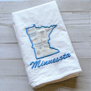 I Love Minnesota Tea Towel - Mosquitos & Canoes Minnesota