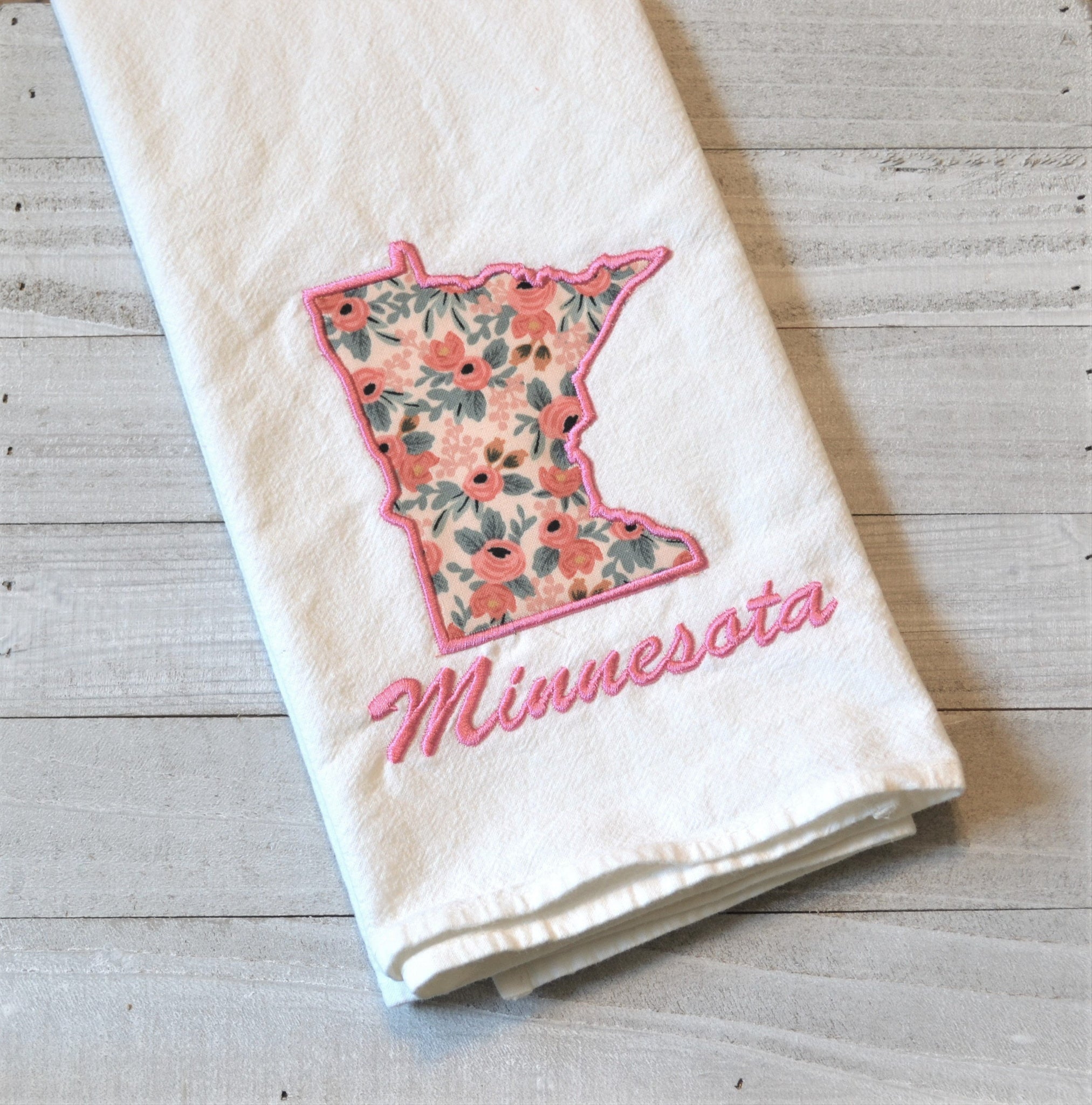 I Love Minnesota Tea Towel - Floral - Pink or Teal