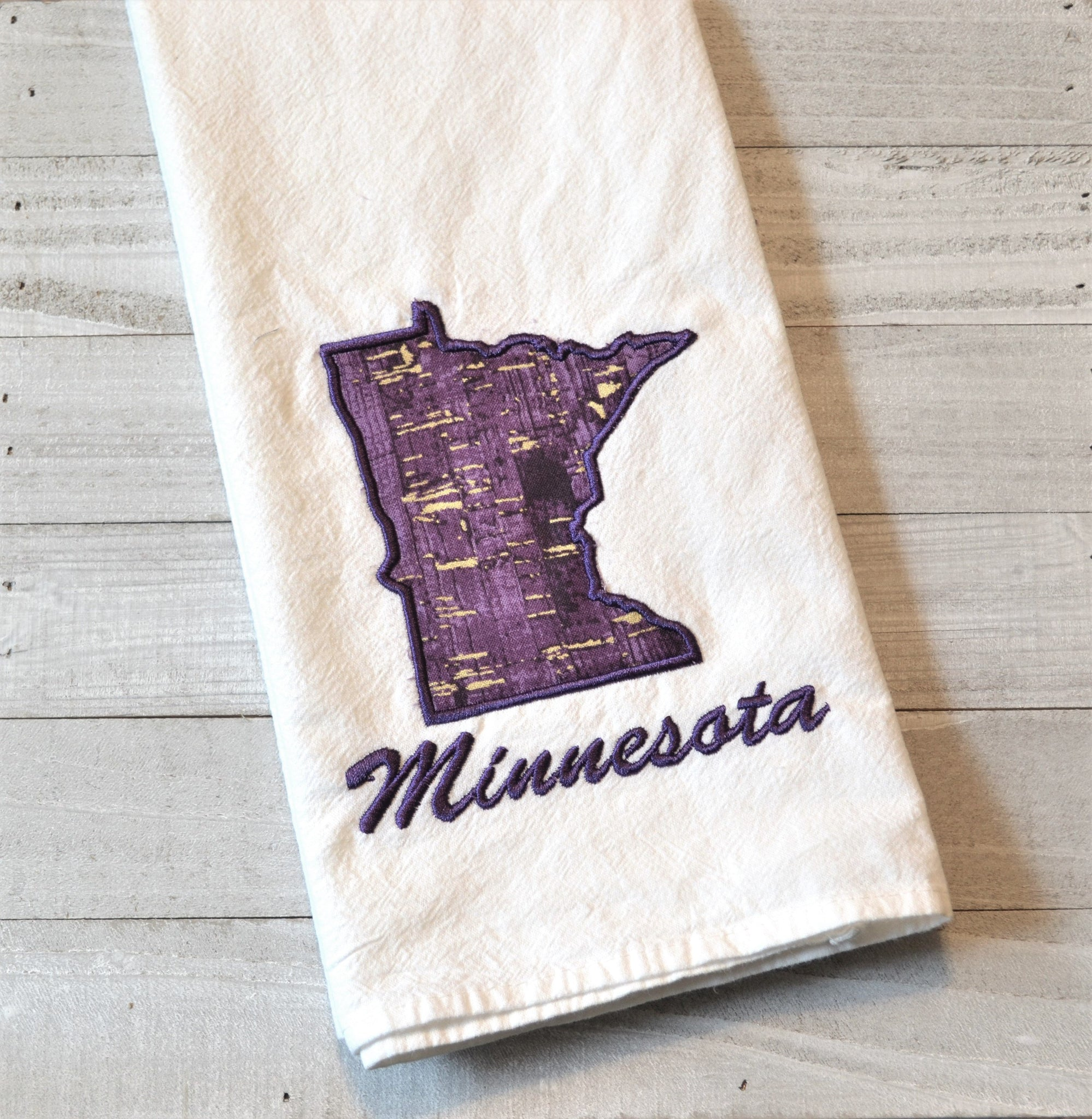 I Love Minnesota Tea Towel - Purple & Gold Fabric
