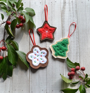 READY TO SHIP - Cookie Felt Ornaments - Single or 3 Pack