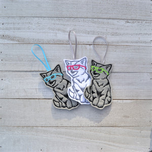Nerdy Kitty Felt Ornament