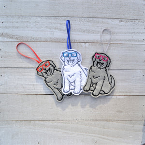 Nerdy Puppy Felt Ornament