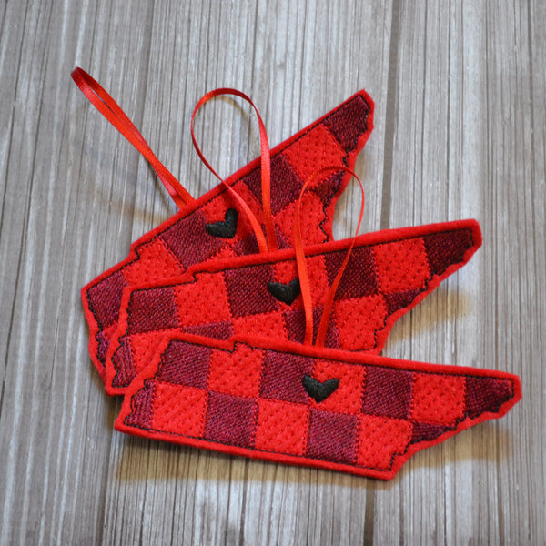 State Plaid Felt Ornament