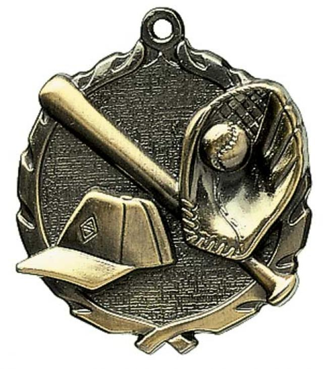 Sculptured Baseball Medal with Neck Ribbon