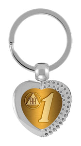AA Heart Key Chain with Printed Insert