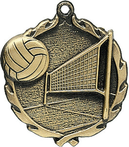 Sculptured Volleyball Medal with Neck Ribbon
