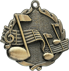 Sculptured Music Medal with Neck Ribbon