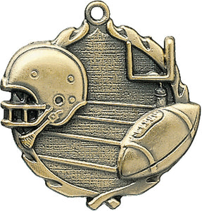 Sculptured Football Medal with Neck Ribbon