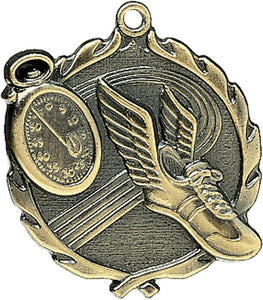 Sculptured Track Medal with Neck Ribbon