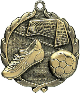 Sculptured Soccer Medal with Neck Ribbon