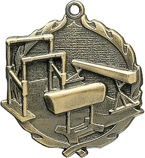 Sculptured Gymnastics Medal with Neck Ribbon