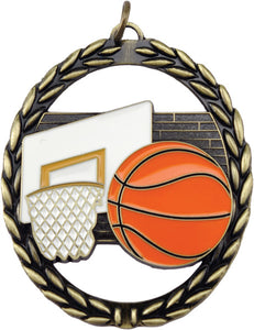 "Basketball Negative Space 2.75"" Medal with Neck Ribbon"